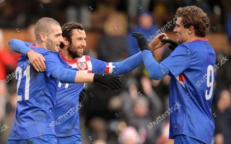 Mladen Petric of Croatia Celebrates His Goal with Darijo Srna and Nikica Jelavic 4-0 United Kingdom London