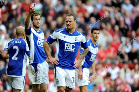 Defenders Roger Johnson and Martin Jiranek of Birmingham City During Their 5-0 Defeat Too Liverpool United Kingdom Liverpool
