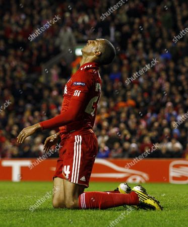 David N'gog of Liverpool Rues A Missed Chance United Kingdom Liverpool
