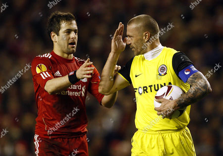 Stock Picture of Joe Cole of Liverpool Tries to Get the Ball From Tomas Repka of Sparta Prague United Kingdom Liverpool