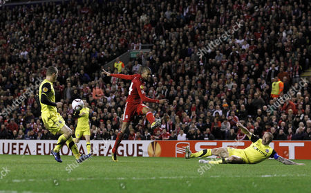 David N'gog of Liverpool Has His Shot Blocked by Tomas Repka of Sparta Prague United Kingdom Liverpool
