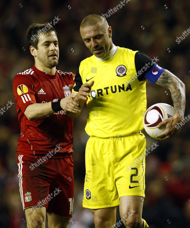 Joe Cole of Liverpool Tries to Get the Ball From Tomas Repka of Sparta Prague United Kingdom Liverpool