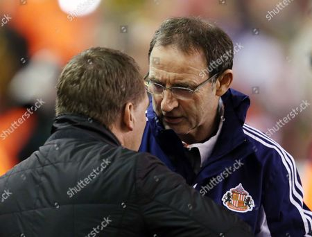 Sunderland Manager Martin O'neill with Counterpart Brendan Rodgers of Liverpool Before the Game United Kingdom Liverpool