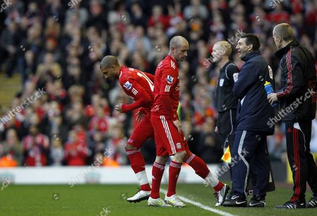 Raul Meireles of Liverpool is Replaced by Team-mate David N'gog United Kingdom Liverpool