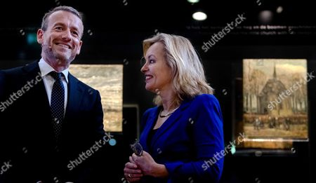 Stock Picture of Director of the Van Gogh Museum Axel Ruger (L) and Minister of Education, Culture and Science Jet Bussemaker reveal the two stolen Van Gogh in Amsterdam, the Netherlands, 21 March 2017. The paintings were recoverd in Napels, Italy, in September 2016 by the Italian police.