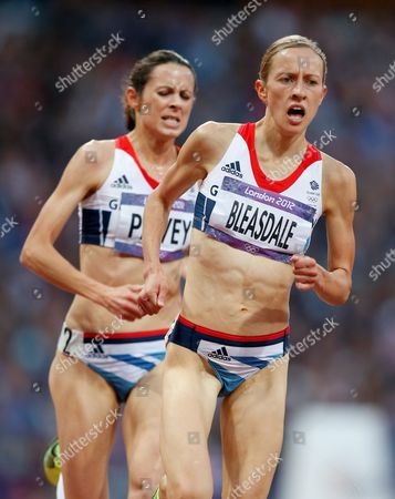 Julia Bleasdale and Joanne Pavey of Great Britain During the Women's 5000m Final at the Olympic Stadium As Part of the 2012 London Olympic Games - London Uk - 10 August 2012