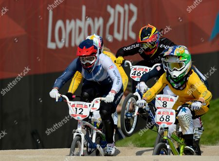 Shanaze Reade of Great Britain (12) During the Women's Bmx Final at the Bmx Track As Part of the 2012 London Olympics - London Uk - 10 August 2012
