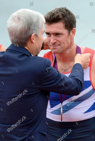 Greg Searle of Great Britain is Awarded His Bronze Medal For the Rowing Men's Eight at Eton Dorney During the 2012 London Olympics - London Uk - 01 August 2012