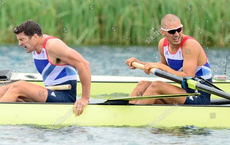 Greg Searle and Mohammed Sbihi of Great Britain's Mens Eight Crew Look Exhausted After the Race in Which They Claimed Bronze at Eton Dorney During the 2012 London Olympics - London Uk