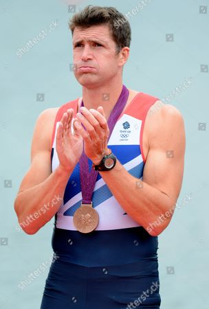 Greg Searle of Great Britain Applauds the Crowd After Receiving His Bronze Medall For the Rowing Men's Eight at Eton Dorney During the 2012 London Olympics - London Uk - 01 August 2012