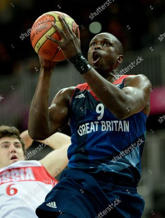 Luol Deng of Great Britain During the Men's Preliminary Round Group B Basketball Match Between Russia and Great Britain in the Basketball Arena During the 2012 London Olympic Games in London England Uk - 29 July 2012