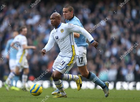 El-hadji Diouf of Leeds United and Jack Rodwell of Manchester City in Action United Kingdom Manchester