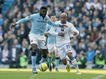 Kolo Toure of Manchester City and El-hadji Diouf of Leeds United in Action United Kingdom Manchester