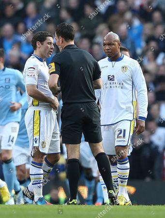 Leeds United Midfielders Michael Brown and El-hadji Diouf Complain to Referee Mark Clattenburg United Kingdom Manchester