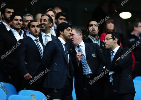 Front Row L-r Manchester City Owner Sheikh Mansour On His First Visit to the City of Manchester Stadium Chief Executive Garry Cook and Chairman Khaldoon Al Mubarak in Conversation Before Kick Off United Kingdom Manchester