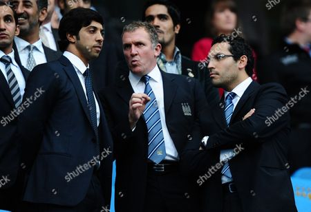 L-r Manchester City Owner Sheikh Mansour On His First Visit to the City of Manchester Stadium Chief Executive Garry Cook and Chairman Khaldoon Al Mubarak in Conversation Before Kick Off United Kingdom Manchester