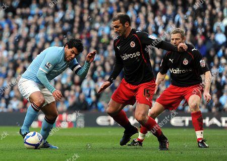 Carlos Tevez of Manchester City Takes On Zurab Khizanishvili of Reading United Kingdom Manchester
