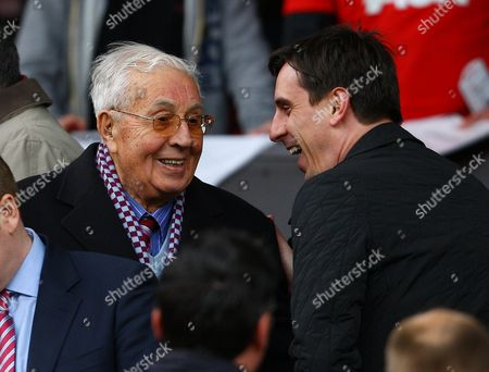 Aston Villa Life President Sir Doug Ellis Shares A Joke with Former Manchester United Player Gary Neville United Kingdom Manchester