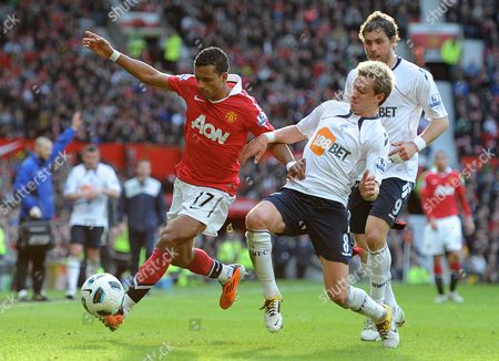 Nani of Manchester United and Stuart Holden of Bolton Wanderers United Kingdom Manchester