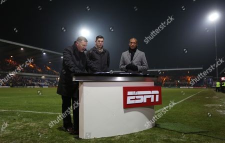 Espn Presenters Ray Stubbs Robert Duffy and Clarke Carlisle at Field Mill Home of Mansfield Town Fc United Kingdom Mansfield