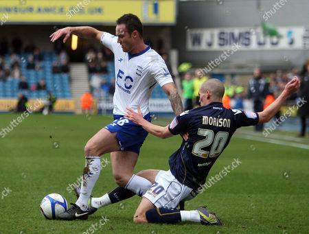 Martin Jiranek of Birmingham City is Tackled by Steve Morison of Millwall United Kingdom London