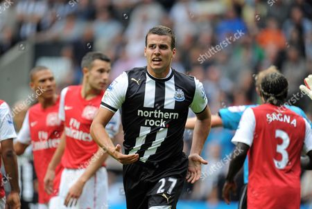 Stephen Taylor of Newcastle United Runs Towards the Linesman After an Incident United Kingdom Newcastle