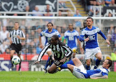 Nile Ranger of Newcastle United is Fouled by Martin Jiranek of Birmingham City Who Was Booked United Kingdom Newcastle