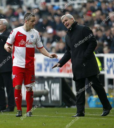 Qpr Manager Mark Hughes Issues Instructions to Heidar Helguson United Kingdom Newcastle