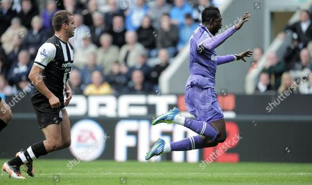 Stephen Taylor of Newcastle United Fouls Emmanuel Adebayor of Tottenham Hotspur in the Box to Give Away A First Half Penalty Scored by Rafael Van Der Vaart of Tottenham Hotspur United Kingdom Newcastle