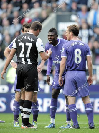 Stephen Taylor of Newcastle United Argues with Emmanuel Adebayor of Tottenham Hotspur After the Incedent That Led to A Penalty Between the Two United Kingdom Newcastle