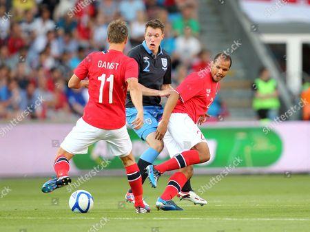 Phil Jones of England in Action with Morten Gamst Pedersen and Daniel Braaten of Norway Norway Oslo