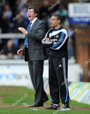 Newcastle United Manager Chris Hughton Stands in Front of Peterborough United Manager Jim Gannon United Kingdom Peterborough