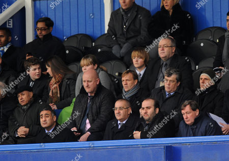The Portsmouth Board Members in the Directors Box Mark Jacob (executive Director) Daniel Azougy (accountant) Sulaiman Al Fahim (non Executive Director) and Peter Storrie (ceo) United Kingdom Portsmouth
