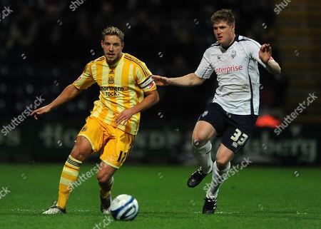 Alan Smith of Newcastle United and Neil Mellor of Preston North End United Kingdom Preston