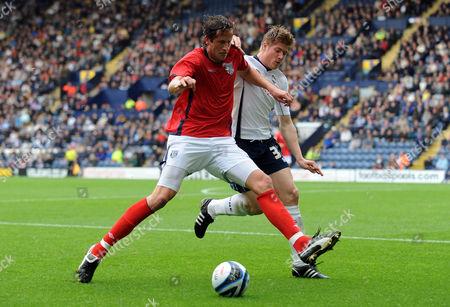 Neil Mellor of Preston North End and Jonas Olsson of West Bromwich Albion United Kingdom Preston