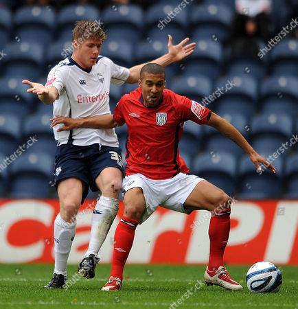 Neil Mellor of Preston North End and Gianni Zuiverloon of West Bromwich Albion United Kingdom Preston