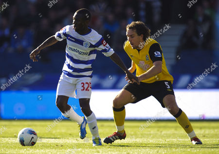 Shaun Wright-phillips of Qpr and Gael Givet of Blackburn Rovers United Kingdom London