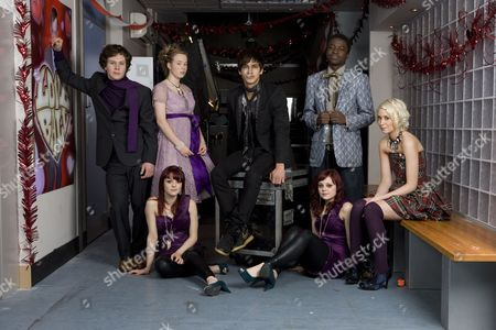 'Skins' Cast members during filming from left -  Ollie Barberi, Lisa Backwell, twins, Kathryn and Megan Prescott,  Luke Pasqualino, Merveille Lokeba and Lily Loveless