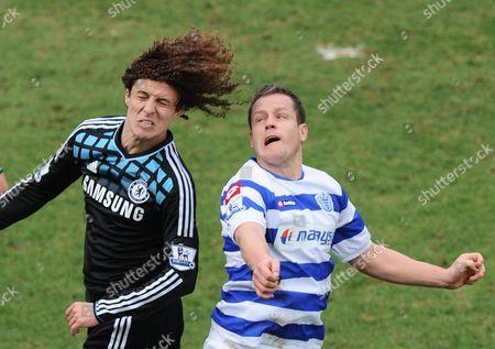 Heidar Helguson of Qpr Battles with David Luiz of Chelsea Left United Kingdom London