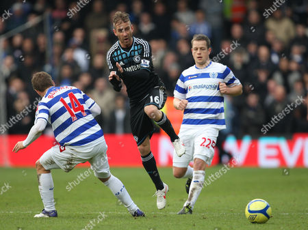 Raul Meireles of Chelsea in Action with Akos Buzsaky and Heidar Helguson of Queens Park Rangers United Kingdom London