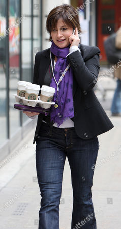 Emma Forbes, who is standing in for Steve Wright on Radio 2, nips out to get a round of coffee.
