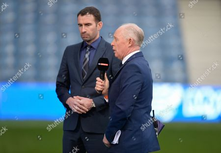 Sky Sports Presenter David Craig and Danny Higginbotham During the Sky Bet Championship Match Between Qpr and Middlesbrough Played at Loftus Road London On April 1st 2016 United Kingdom S Africa Rd, London