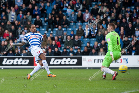 Dj Campbell of Qpr Scores A Goal But It is Disallowed United Kingdom London