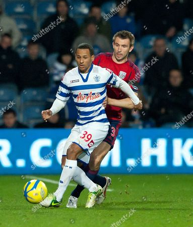 Dj Campbell of Qpr and Gareth Mcauley of West Bromwich Albion United Kingdom London