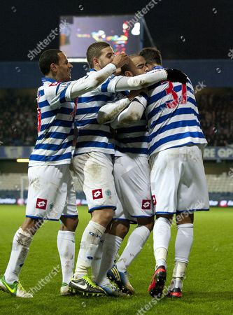 Kieron Dyer of Queens Park Rangers Scores an Equalising and Celebrates with Dj Campbell Adel Taarab and Jay Bothroyd 1-1 United Kingdom London