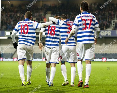 Kieron Dyer of Queens Park Rangers Scores an Equalising and Celebrates with Adel Taarabt Dj Campbell and Jay Bothroyd 1-1 United Kingdom London