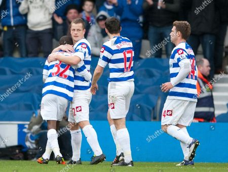 Heidar Helguson of Qpr Celebrates Scoring the Opening Penalty Goal United Kingdom London