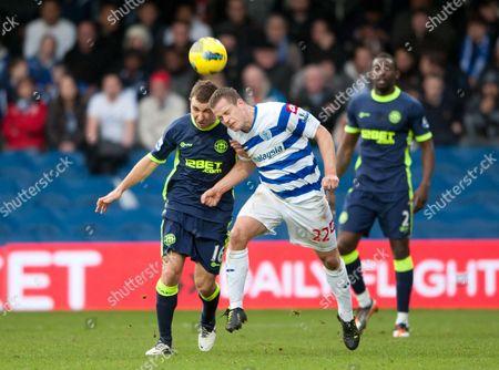Heidar Helguson of Qpr Takes On James Mcarthur of Wigan Athletic United Kingdom London