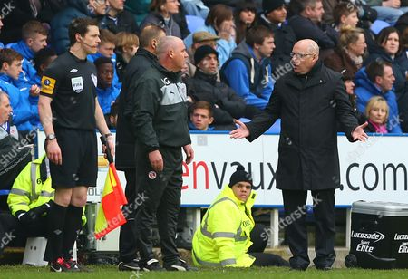 Reading Manager Brian Mcdermott (right) Gestures to 4th Official Mark Halsey (hidden) After A Decision United Kingdom Reading