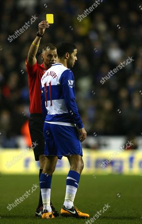 Reading's Jobi Mcanuff is Shown A Yellow Card by Referee Mark Halsey United Kingdom Reading